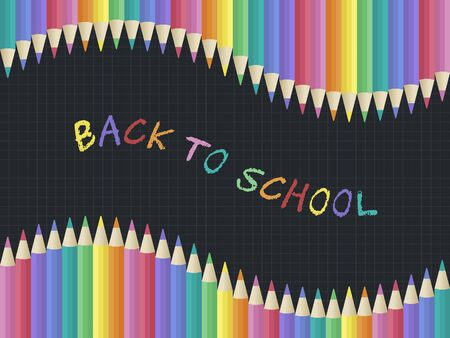 Back to school, Colored Pencil poster template, vector illustration Illustration