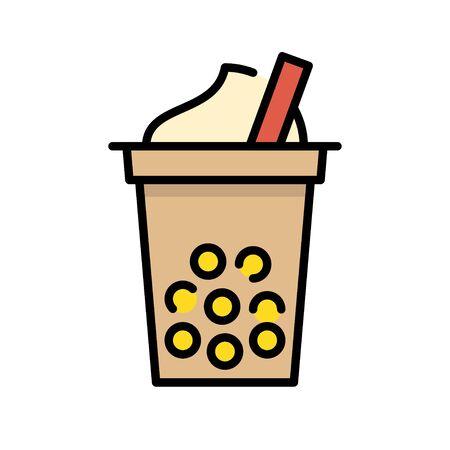 Bubble tea or Pearl milk tea filled vector icon Stock Vector - 129084316