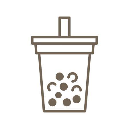 Bubble tea or Pearl milk tea line vector icon Stock Vector - 129084304
