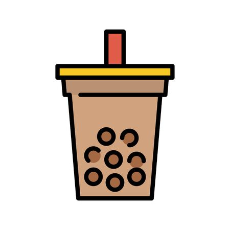 Bubble tea or Pearl milk tea filled vector icon