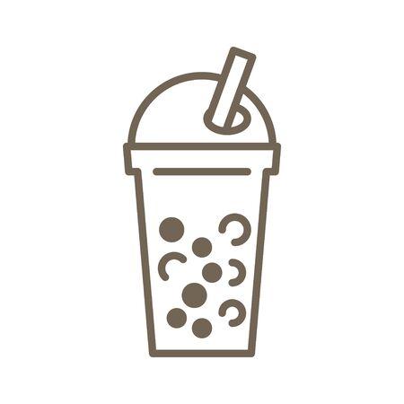 Bubble tea or Pearl milk tea line vector icon Illustration