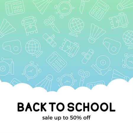 Back to school, School supplies sale poster template, vector illustration Stock Vector - 129084374
