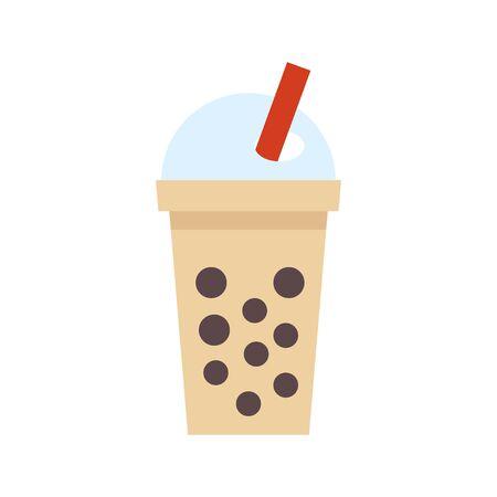 Bubble tea or Pearl milk tea flat vector icon