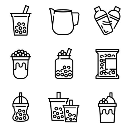 Bubble tea or Pearl milk tea related line icon set, vector illustration