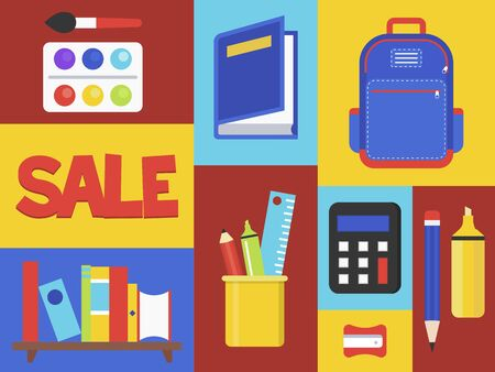 Back to school Sale, School supplies vector illustration