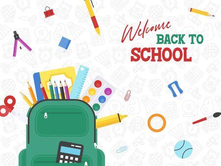 Back to school, School bag with school supplies vector illustration