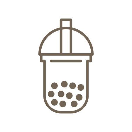 Bubble tea or Pearl milk tea line vector icon  イラスト・ベクター素材