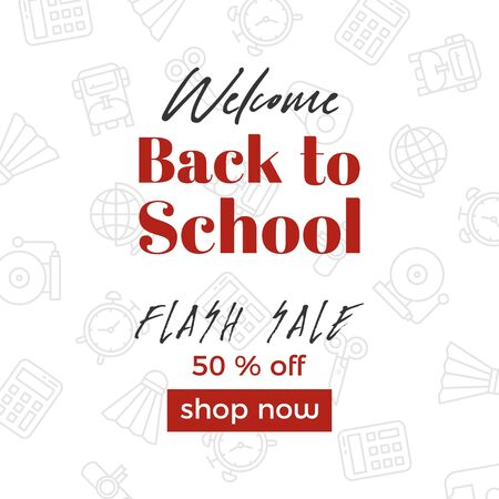 Welcome back to school, Sale poster template, vector illustration Illustration