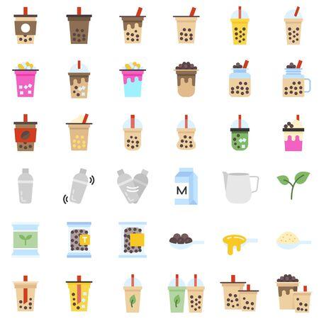 Bubble tea or Pearl milk tea related flat icon set, vector illustration Illustration