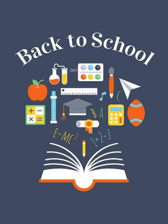 Back to school, School elements poster template, vector illustration