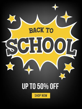 Back to school Sale poster template, vector illustration
