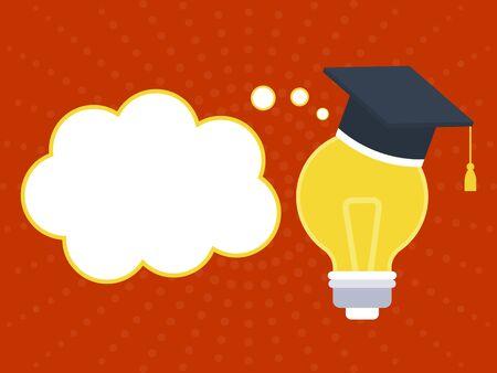 Graduation, Graduation Hat on lightbulb poster template, vector illustration