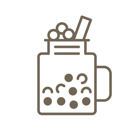 Bubble tea or Pearl milk tea line vector icon Ilustração