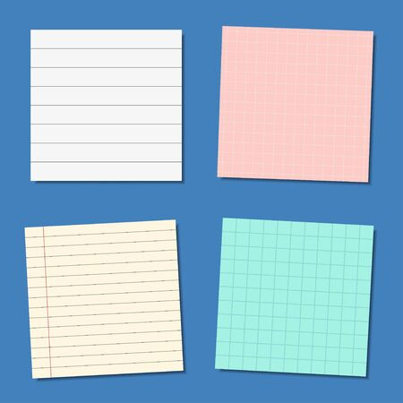 Colorful Note paper or sticky note set, vector illustration Stock Vector - 129297293