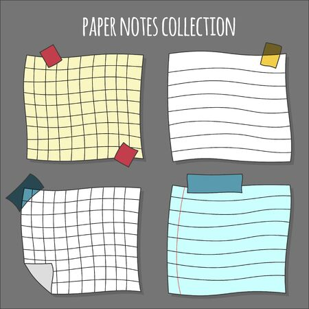Colorful Note paper or sticky note set, vector illustration