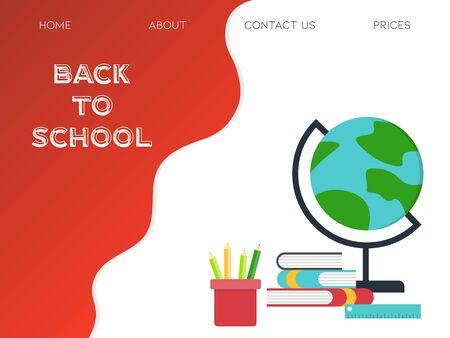 Back to school, School supplies poster template vector illustration