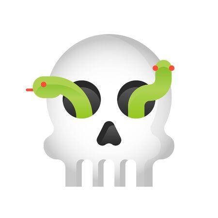 Skull with snake vector illustration, Halloween gradient design icon