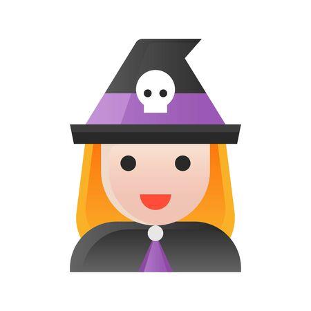 Witch vector illustration, Halloween gradient design icon