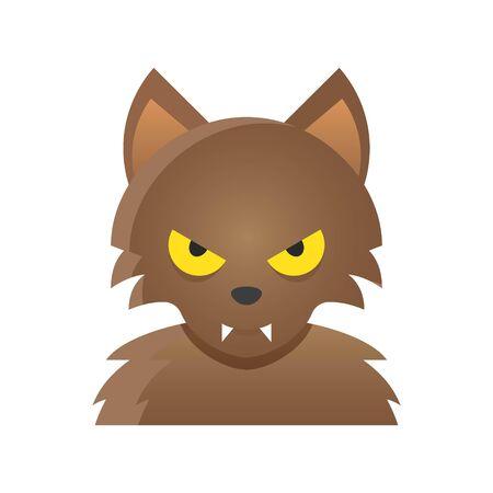 Werewolf vector illustration, Halloween gradient design icon