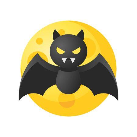 Bat vector illustration, Halloween gradient design icon