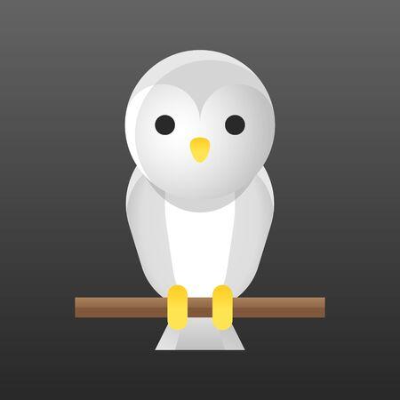 Barn owl vector illustration, Halloween gradient design icon Illustration
