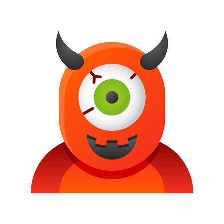 Cyclops vector illustration, Halloween gradient design icon