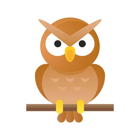 Owl vector illustration, Halloween gradient design icon