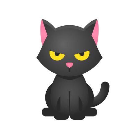 Black cat vector illustration, Halloween gradient design icon