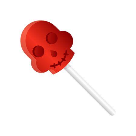 Skull lollipop vector illustration, Halloween gradient design icon