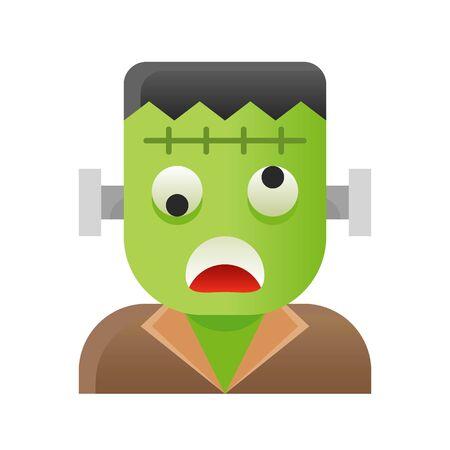 Frankenstein vector illustration, Halloween gradient design icon