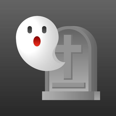 Ghost with grave vector illustration, Halloween gradient design icon