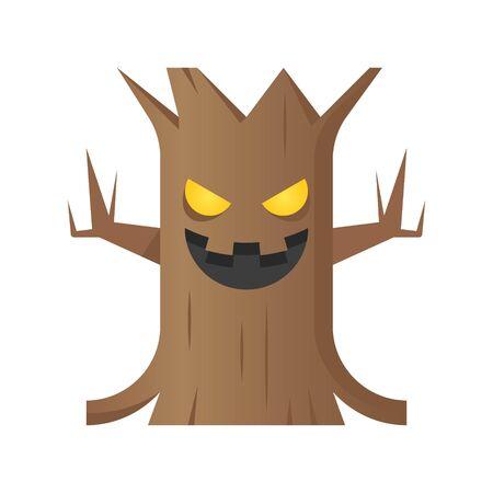 Spooky tree vector illustration, Halloween gradient design icon