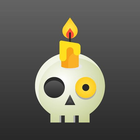 Candle on skull vector illustration, Halloween gradient design icon