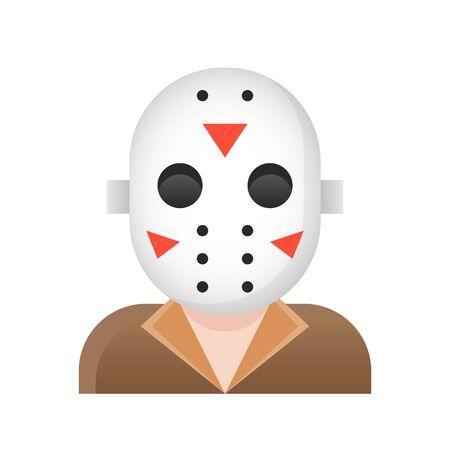 Murderer with horror mask vector illustration, Halloween gradient design icon
