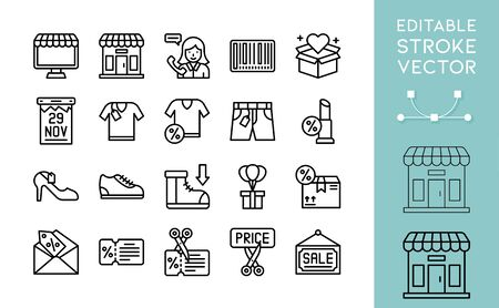 Black friday related line icon set, vector illustration
