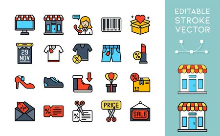 Black friday related filled icon set, vector illustration Ilustracja