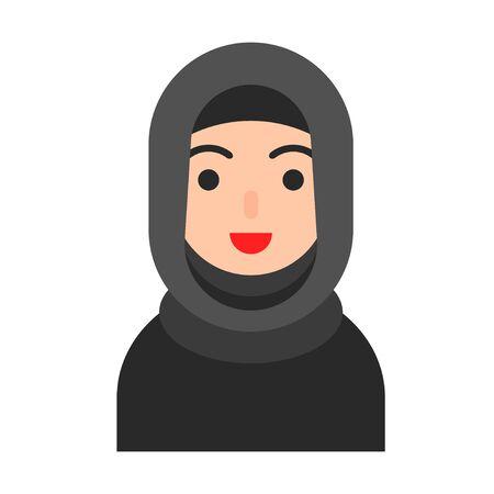 Muslim avatar vector illustration, Muslim people flat icon