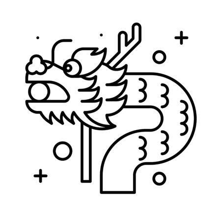 Dragon vector illustration, Chinese New year line icon Çizim