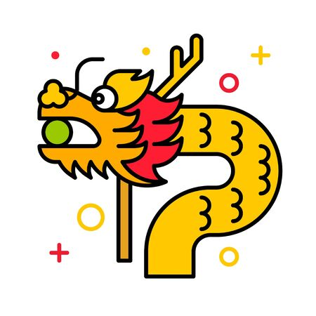 Dragon vector illustration, Chinese New year filled icon