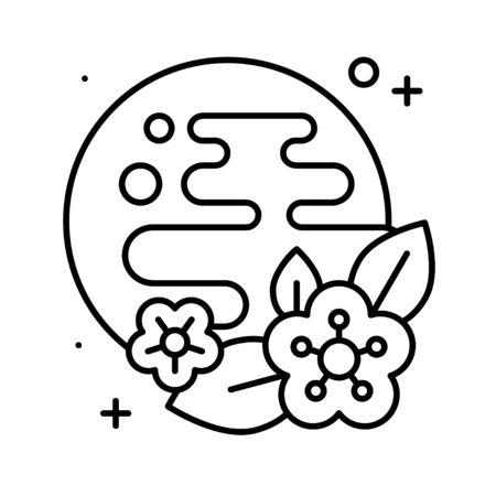 Moon and cloud with plum flower symbol vector, Chinese New year line icon 版權商用圖片 - 137649781