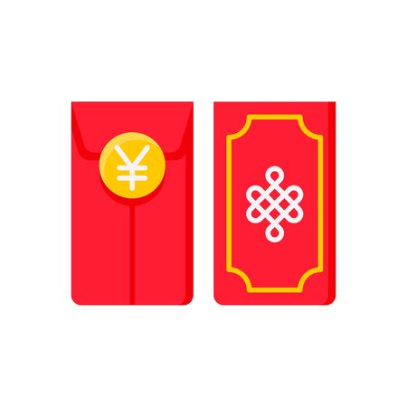 Red envelope vector illustration, Chinese New year flat icon