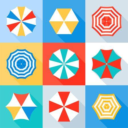 Beach umbrella vector icon set, flat desin
