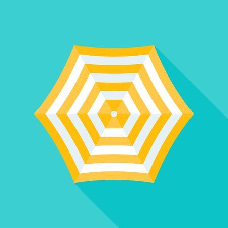 Beach umbrella vector illustration, flat design icon