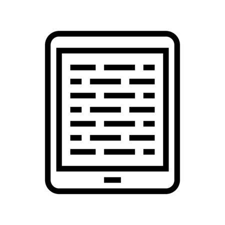 Tablet computer vector illustration, line design icon