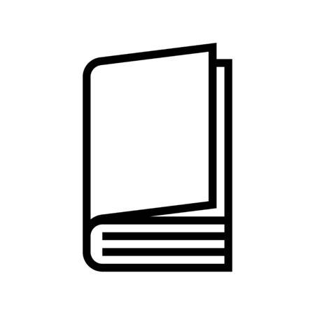Closed book vector illustration, line design icon