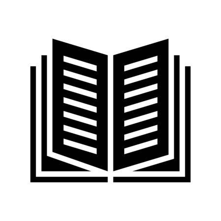Open book vector illustration, solid design icon