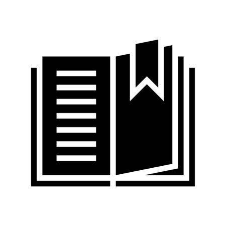 Livre ouvert avec vecteur de signet, icône du design solide
