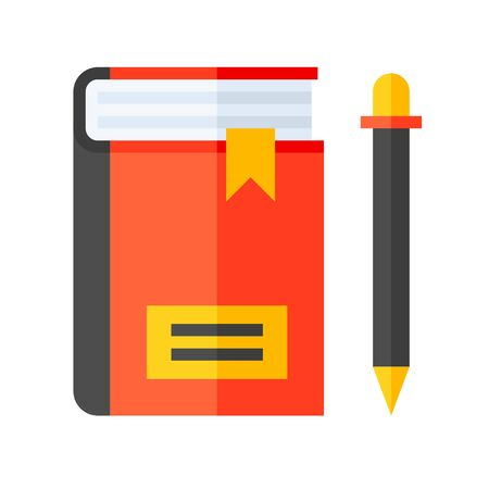 Notebook with pencil vector, flat design icon Ilustracja
