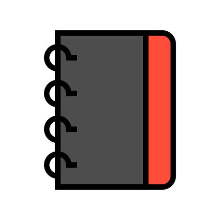 Notebook vector illustration, filled design icon