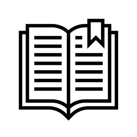 Open book with bookmark vector, line design icon